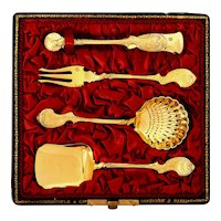 1880s Christofle Rare French Sterling Silver 18k Gold Dessert Set 4 pc, Original Box