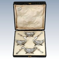 Soufflot French Sterling Silver Four Salt Cellars, Spoons, Original Box, Swans