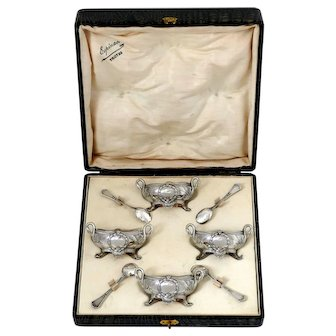 Soufflot French Sterling Silver Four Salt Cellars, Spoons, Original Box, Swans