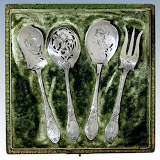 Doutre Roussel French All Sterling Silver Dessert Hors D'oeuvre Set 4 Pc, Original Box, Art Nouveau