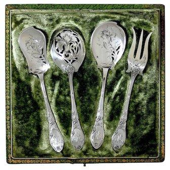 Doutre Roussel French All Sterling Silver Dessert Hors D'oeuvre Set 4 Pc, Original Box, Art Nouveau