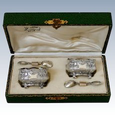 Noiret French Sterling Silver 18k Gold Salt Cellars Pair, Spoons, Original Box