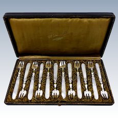 Collet French Sterling Silver & Mother-of-Pearl Oyster Forks Set 12 Pc, Original Box