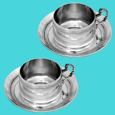 Pair of French Sterling Silver Coffee Tea Cups & Saucers, Neoclassical