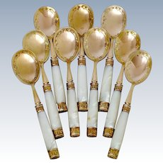 Piault French Sterling Silver, 18k Gold & Mother-of-pearl Ice Cream Spoons Set