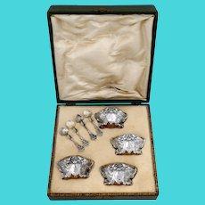 Fabulous French Sterling Silver 18k Gold Four Salt Cellars, Spoons, Box, Swan, Lion