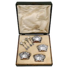 Fabulous French Sterling Silver 18k Gold 4 Salt Cellars, Spoons, Box, Swan, Lion