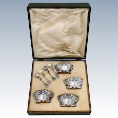 Fabulous French Sterling Silver 18k Gold Four Salt Cellars, Spoons, Box, Swan, Lion