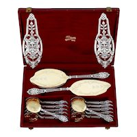Puiforcat Masterpiece French Sterling Silver 18k Gold Ice Cream Set, Mascaron