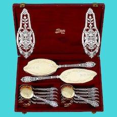 Puiforcat Masterpiece French Sterling Silver 18k Gold Ice Cream Set, Mascaron