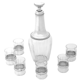 Puiforcat French Sterling Silver Cut Crystal Aperitif or Liquor Service