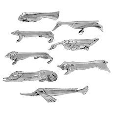 Christofle Gallia Sandoz Signed Rare Silver Knife Rests, Art Deco