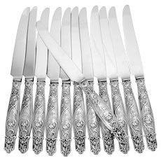 Rare French Sterling Silver Dinner Knife Set 12 Pc, Poppies, New Stainless Blades