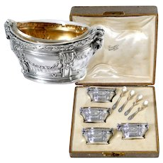 Puiforcat Masterpiece French Sterling Silver Four Salt Cellars, Box, Ram's Head