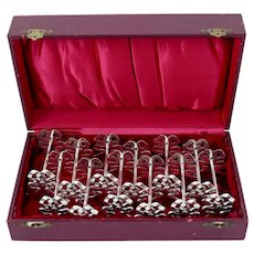 Lapparra Rare French All Sterling Silver Knife Rests Set 12 Pc, Ribbon