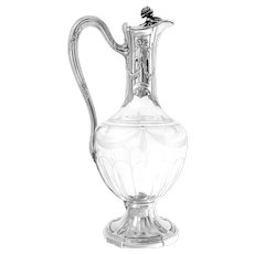 Puiforcat French Sterling Silver 18k Gold Cut Crystal Claret Jug, Ewer, Decanter