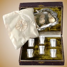 Huignard Rare French Sterling Silver Liquor Cups and Tray, Original Box