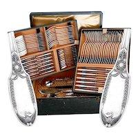 Puiforcat French Sterling Silver Flatware Set 92 Pc, Empire, Swan, Box