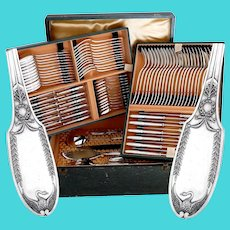 Puiforcat French Sterling Silver Flatware Set 92 Pc, Empire, Swan, Box