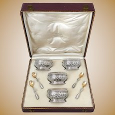 Puiforcat French Sterling Silver Four Salt Cellars, Spoons, Box, Neoclassical