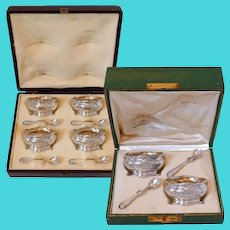 Puiforcat Rare French Sterling Silver 18k Gold Salt Cellars 6 Pc, Spoons, Boxes, Mistletoe