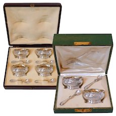 Puiforcat Rare French Sterling Silver 18k Gold Salt Cellars 6 Pc, Spoons, Boxes, Mistletoe