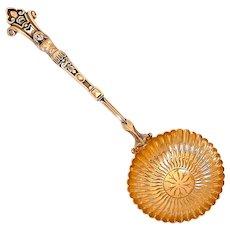 Puiforcat Rare French Sterling Silver 18k Gold Sugar Sifter Spoon, Caryatid