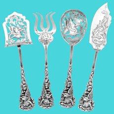 Masterpiece Boivin French Sterling Silver Dessert Set 4 Pc, Original Box, Dragon