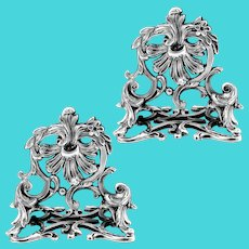Lapar Rare French All Sterling Silver Menu, Place, Name Holders Pair