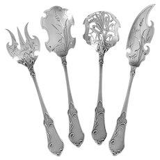Molle French All Sterling Silver Dessert Hors D'Oeuvre Set 4 Pc, Art Nouveau