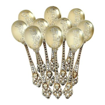 Soufflot French Sterling Silver 18k Gold Ice Cream Spoons Set, Mascaron