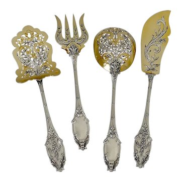 Bardies French All Aterling Silver 18k Gold Dessert Hors D'oeuvre Set 4 Pc, Original Box