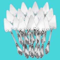Rare French All Sterling Silver Butter Shovels Set 18 Pc, Original Box