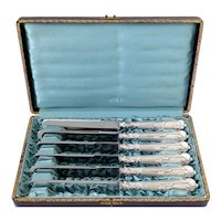 Antique French Sterling Silver Dinner Knife Set 6 Pc, Original Box, Ram's Head