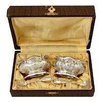 Puiforcat French Sterling Silver Salt Cellars Pair, Spoons, Box, Regence