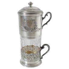 Ravinet French Sterling Silver 18k Gold Crystal Travel Coffee Press