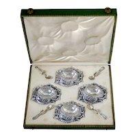 Puiforcat Rare French Sterling Silver 4 Salt Cellars, Spoons, Original Box
