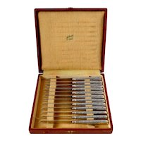 Coignet Rare French Sterling Silver Melon Knife Set 12 Pc, Box, Art Deco