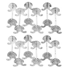 Bessereau Rare French All Sterling Silver Knife Rests Set 12 Pc, Shell
