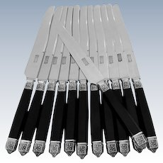 Antique French Sterling Silver & Ebony Dinner Knife Set 12 pc Renaissance