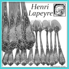 Lapeyre Gorgeous French Sterling Silver Dinner Flatware Set 12 pc Rococo, Two sets available