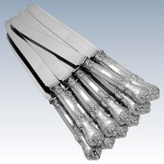 Antique French Sterling Silver Dinner Knife Set 12 pieces New Stainless Steel Blades