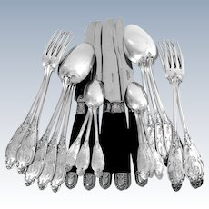 Debain Gorgeous French Sterling Silver Dinner Flatware Set 24 pc