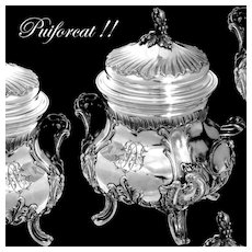 PUIFORCAT  French Sterling Silver 18k Gold Sugar Bowl Rococo