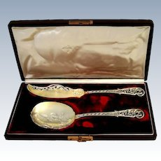 Souflot French All Sterling Silver 18-Karat Gold Ice Cream Set 2 pc, Original Box
