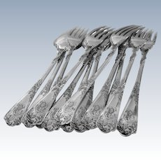 Puiforcat French Sterling Silver Dinner Flatware Set of 12 pc, Rococo