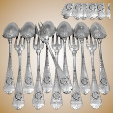 Puiforcat Rare French Sterling Silver Dinner Flatware 12 pc Fer de Lance