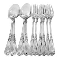 Puiforcat French Sterling Silver Dinner Flatware Set 12 Pc Foliage