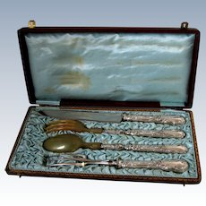 Gorgeous French Rococo Sterling Silver Salad Serving Carving Set 4 Pc with Box