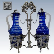 French Sterling Silver Oil and Vinegar Cruet Set Baccarat Cobalt Blue Louis XVI pattern